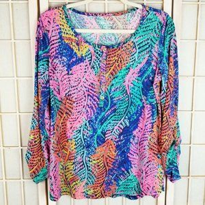Lilly Pulitzer L Fern Print Knit Blouse Top